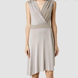 AllSaints Zuri Dress Silk Taupe sleeveless